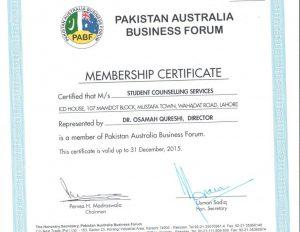 PABF Membership Certificate 2015